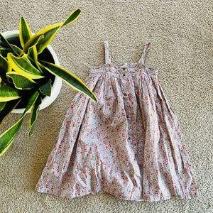 Bonton floral smocked dress button down front